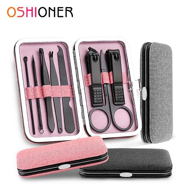 8Pcs/Set Multifunction Nail Clippers Set Stainless Steel Black Pedicure Scissor Tweezer Manicure Set Kit Nail Art Tools Manicure