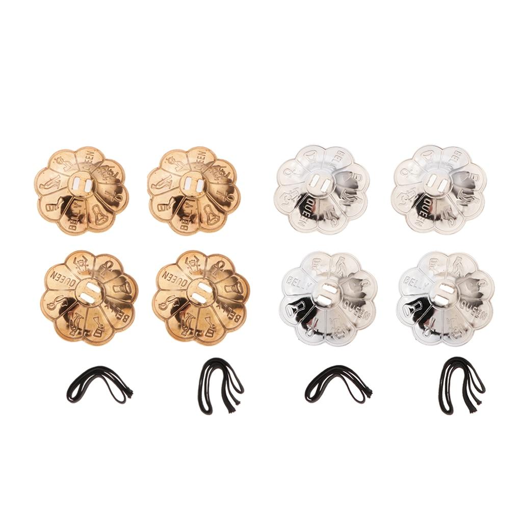 4x Flower Shape Belly Dancing Finger Cymbals Pure Brass Dance Zills