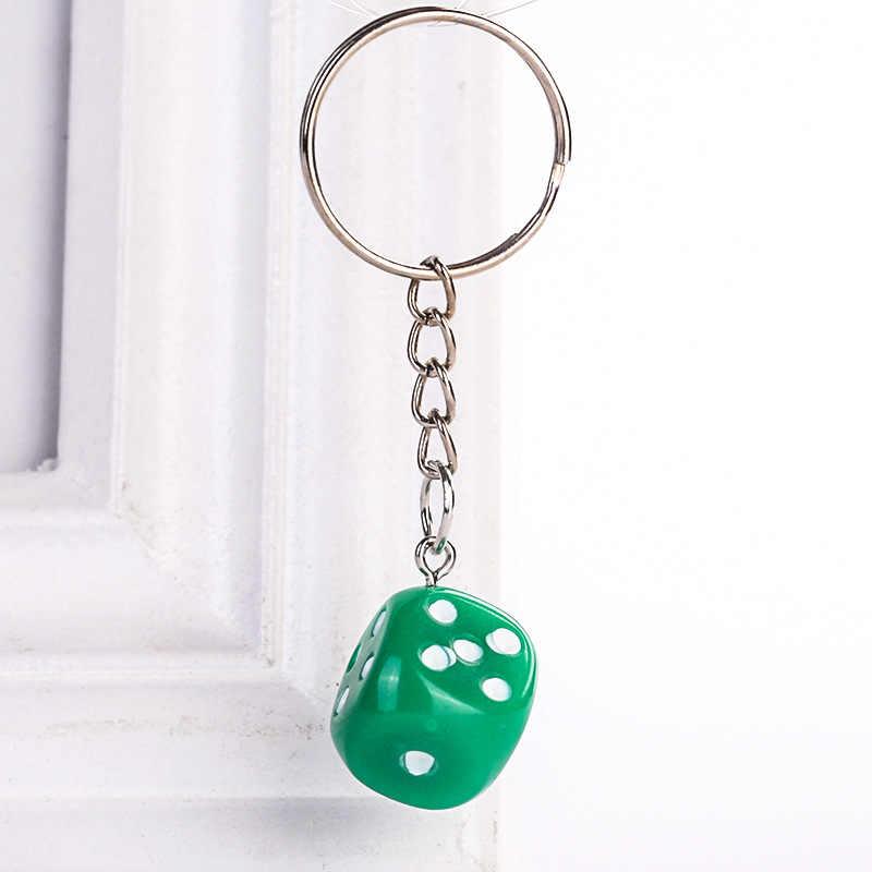 Bonito Colorido Dice Chaveiro Anéis Resina Pingente Chaveiro para Mulheres Dos Homens Bolsas Carteira Acessórios Do Carro Criativo Presente Da Jóia