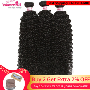 """WA...WONDERFUL Kinky Curly 10"""" -28"""" Brazilian Remy Hair Bundle Weaves Natural Color Kinky Curly Hair Tissage Bresiliens(China)"""