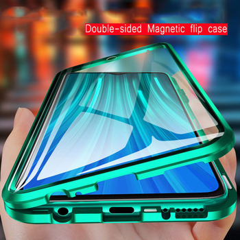 360 pełna ochrona magnetyczne kılıf na Samsung Galaxy A71 A51 A70 A50 A31 M31 A11 A30 A7 A41 A40 M21 A10 A8 A9 2018 podwójne szklane tanie i dobre opinie RUWANGAA CN (pochodzenie) Bumper 360 Full Protection Magnetic Case Zwykły przezroczyste