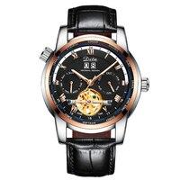 남성 시계 탑 럭셔리 브랜드 스켈레톤 뚜르 비옹 자동 기계식 시계 남성 스테인레스 스틸 다중 시간대 손목 시계