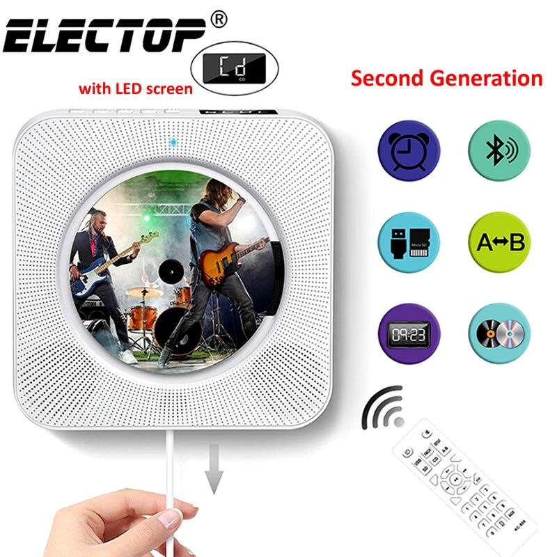 Настенный CD-плеер с объемным звуком, FM-радио, Bluetooth, USB, MP3 дисков, портативный музыкальный плеер с дистанционным управлением, стереоколонка д...