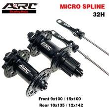 Arco mtb hub 32h frente 9/15x100mm traseira 10x135mm 12x142mm micro spline 12 velocidade shimano 8 9 10 11 velocidade hg/ms mountain bike hub
