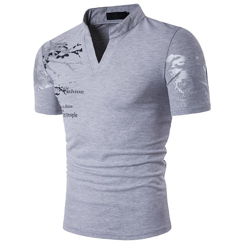 Dingshite Summe New Men's Fashion Short Leeve Stand Collar T Shirt 4