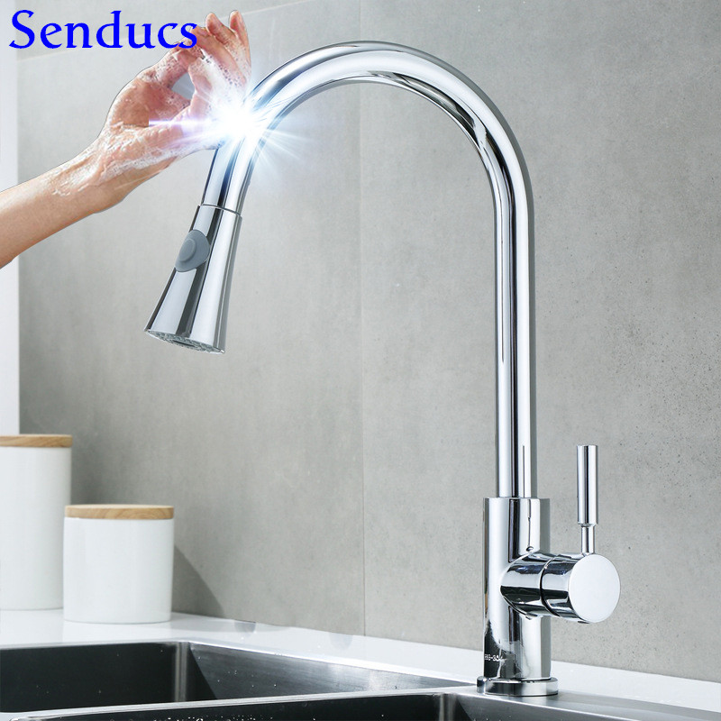 Kitchen Faucet Senducs Touch Kitchen Faucet Quality Stainless Steel Pull Out Sensor Kitchen Tap Touch Control Kitchen Faucet