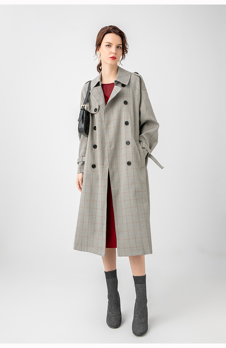 H3c8dcc2a97404a84a03a6319c383697cs Net red houndstooth plaid windbreaker jacket female spring and autumn Korean style mid-length popular double-breasted coat trend