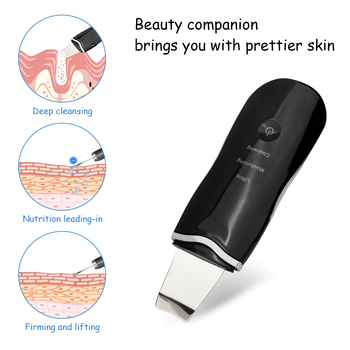 USB Rechargeable Ultrasonic Face Skin Scrubber Cleaner Peeling Vibration Blackhead Removal Exfoliating Pore Facial Cleaner Tools ultrasonic ion deep cleansing skin scrubber pore cleansing exfoliating to blackhead usb charging portable facial peeling shovel