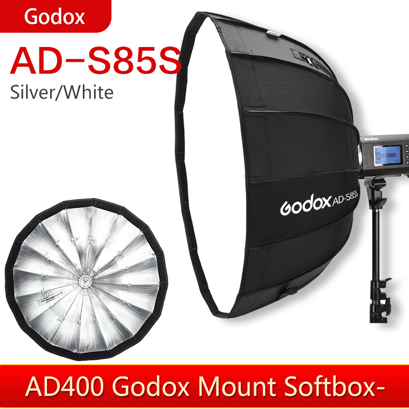 Godox AD-S85S 85cm White or Silver Deep Parabolic Softbox with honeycomb grid for Godox AD400Pro Flash image