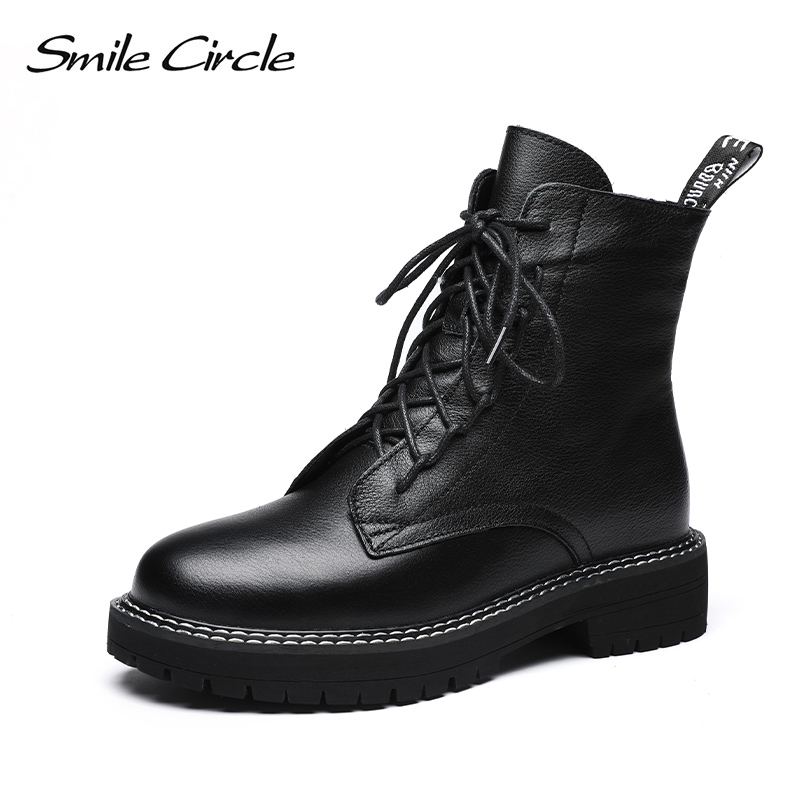 Smile Circle Winter Ankle Boots Genuine Leather Women Shoes 2019 Fashion Keep Warm Round Toe Lace-up Short Boots Ladies