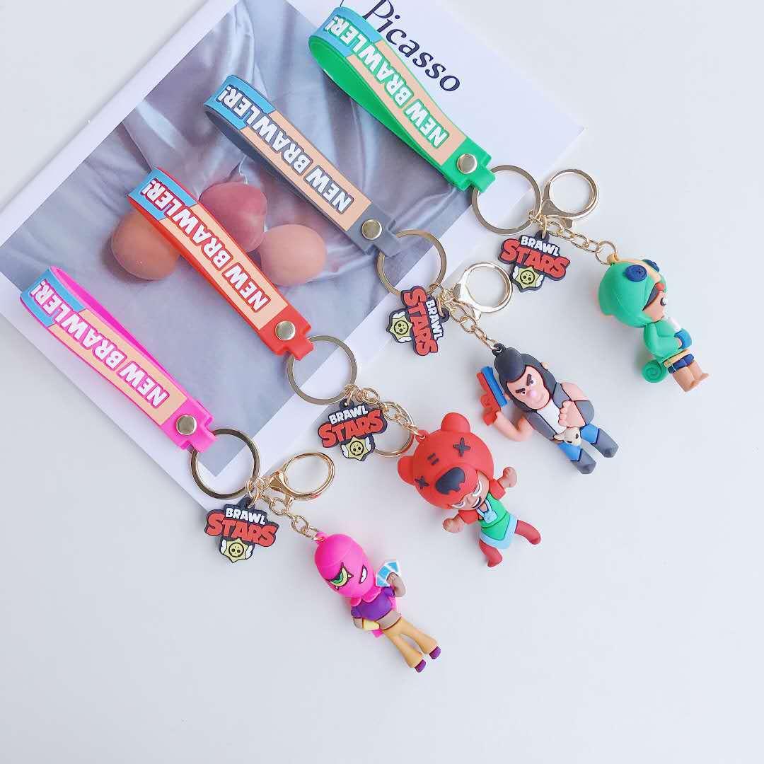 Brawling Stars Keychain Game Chain Men Women Bag Ornament Key Anime Figure Pvc Keychain Phone Bags Car Key Ring Boy Present Gift