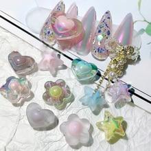 New Acrylic Heart Flower Star Nail Art Decoration Aurora Small Bear Bowknot Ornament
