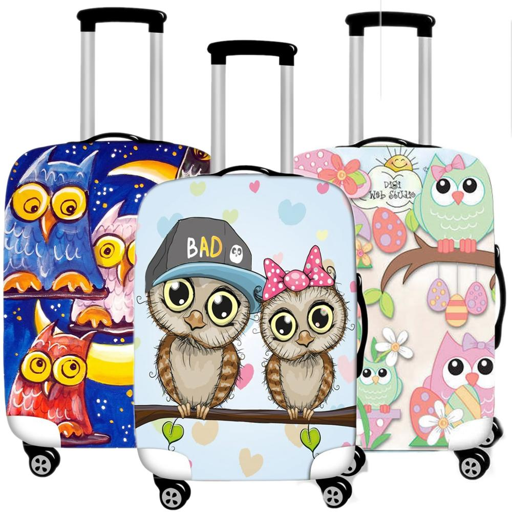 Suitcase Luggage-Cover Travel-Accessorie Owl-Protective-Case Elastic Waterproof Kawaii