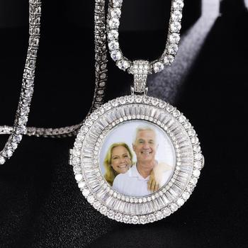 Custom Solid Round Frame Photo Necklace & Pendant Bling Men Hip Hop Rock Jewelry Women Gift