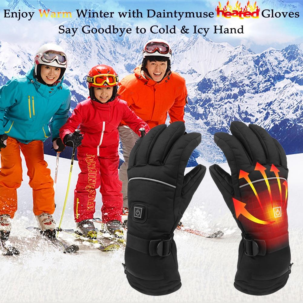 Gants chauffants électriques gants chauffants thermiques alimentés par batterie réglage de la température gants de Ski chauffants à cinq doigts en hiver