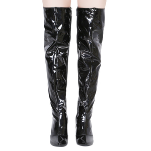 Image 4 - Sexy Silver Mirror Thigh High Boots Women T Show Pointy Toe Club Party Shoes Thin High Heels Over The Knee Long Boots For Women