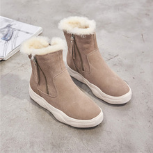 цена на Suede Boots Women Winter Shoes Genuine Leather Women Ankle Boots Warm Cow Leather Shoes Ladies Height Increasing 5cm A1879