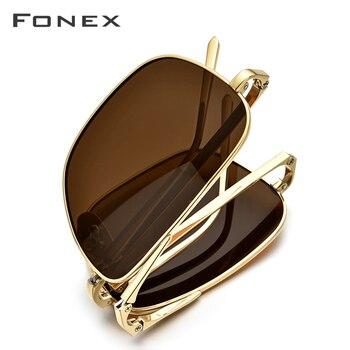 FONEX Pure Titanium Polarized Sunglasses Men Folding Classic Square Sun Glasses for Men New High Quality Male Shades 839