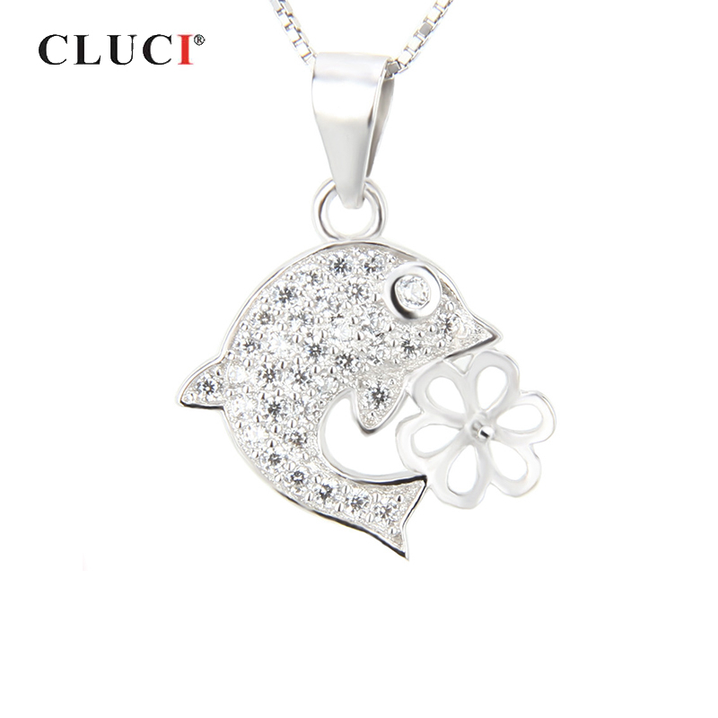 Dolphin Pearl Pendant 925 Sterling Silver Chain Necklace Womens Ladies Jewellery