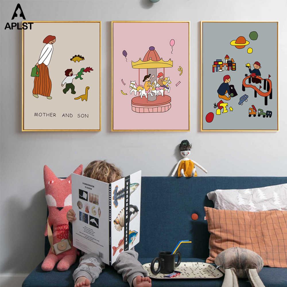 Keluarga Kanvas Lukisan Ayah Dan Ibu Anak Anak Kehidupan Sehari Hari Kartun Cetak Poster Gambar Cinta Untuk Baby Nursery Kamar Tidur Anak Aliexpress