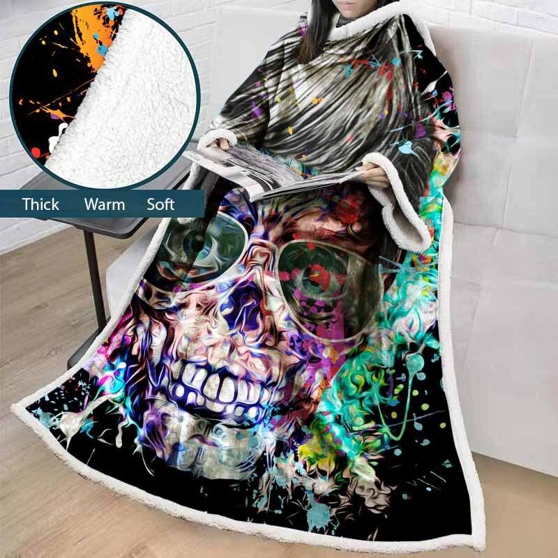 Lannidaa lunettes psychédéliques crâne jeter couverture en peluche chaude en plein air maison portable canapé TV couverture avec manchon doux sieste couverture