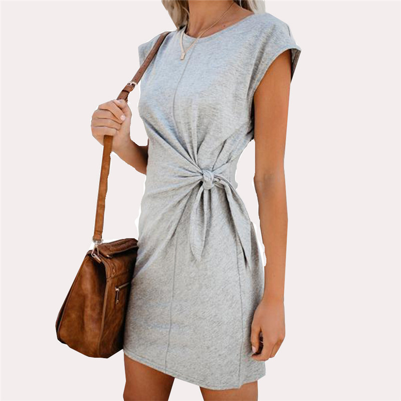 Fashion Women Mini Dress Casual Round Neck Waist Tie Short Sleeve Summer Women Dress 2020 Loose Elegant Women Short Dress (9)