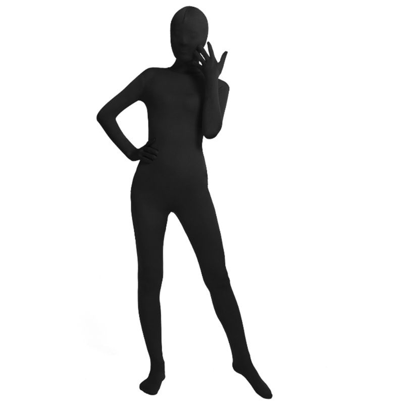 Mens Women Unisex Full Body Tights Suit Spandex Stretchy Black Cosplay Costume Disappearing Man Bodysuit for Halloween Party