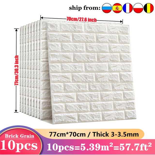 Wall Sticker 10pcs 3D Imitation Brick Bedroom Decoration Waterproof Self Adhesive Wallpaper For Living Room Kitchen TV Backdrop 1