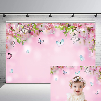 NeoBack Spring Backdrop Peach Blossom Flowers Photography Background Butterfly Pink Children Backgrounds for Photo Studio kate retro blue wall photo background photography backdrop children washable backgrounds for photo studio