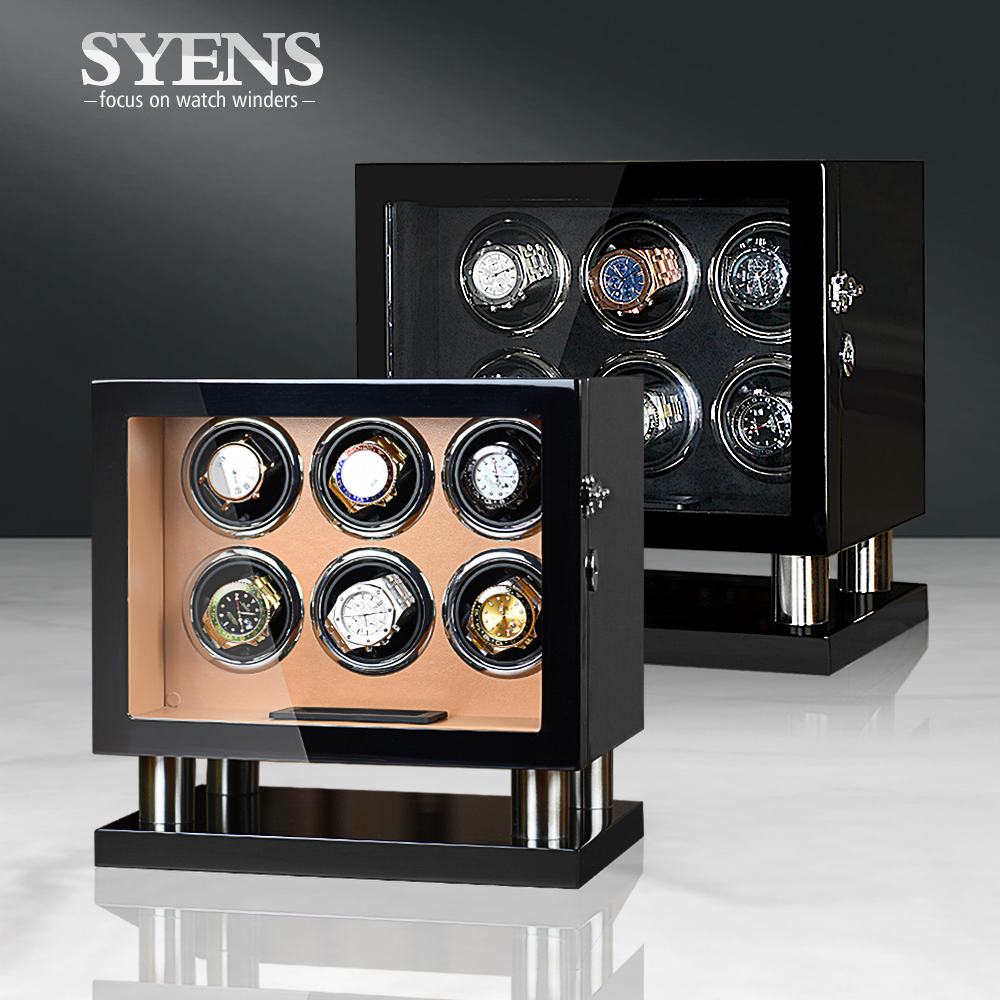 NEW watch winder 6 automatic watches winding box Rotary watch display with USB power and Lcd touch screen for Mens birthday gift