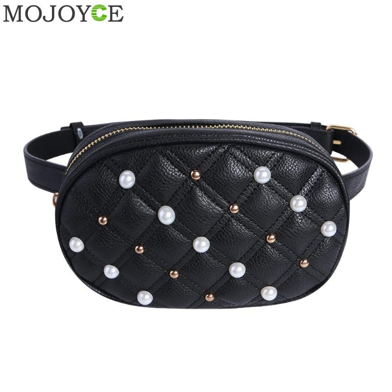 Fashion Pearl Waist Bag Women Fanny Pack Soft Leather Crossbody Waist Belt Bag Luxury Brand Shoulder Chest Bags