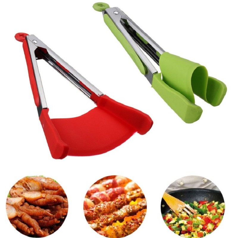 K-STAR Non-Stick Heat Resistant Stainless Steel Frame Tongs Gadget 2 In 1 Kitchen Spatula And Tongs Silicone Clip Bread Clip 1
