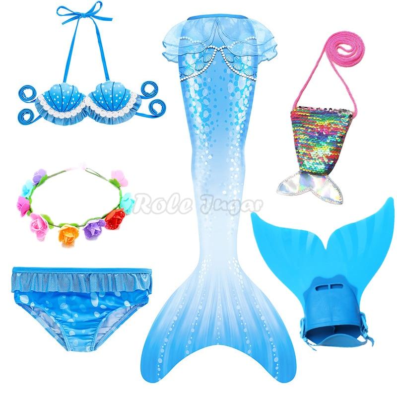 Dresses 2021 Mermaid Tail with Monofin Flipper The Little Mermaid Costume Cosplay Bikini Swimsuit Girls Dress With Garland Bag