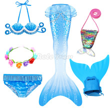 Dresses 2021 Mermaid Tail with Monofin Flipper The Little Mermaid Costume Cosplay Bikini Swimsuit Girls Dress With Garland Bag