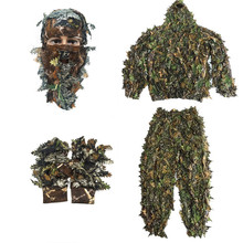 Sniper CS Bionic Camouflage Suit Men 3D Maple Leaf Ghillie Suits Jungle Woodland Hunting Clothes Camo Full Face Mask Gloves