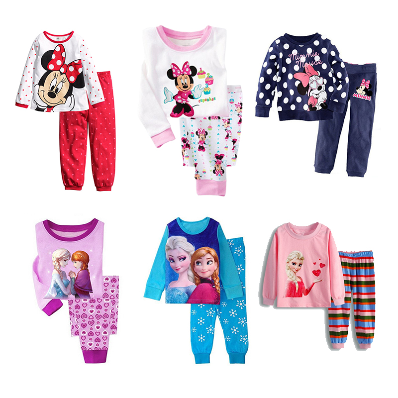 Minnie Mickey Cartoon Pajamas For Baby Girls Cute Elsa Anna T Shirt + Pant 2PCS Pajama Sets Casual Kids Girl Sleepwear Outfits
