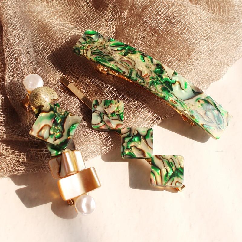 2019 Color Texture Geometric Square Shell Pearl Metallic Conch Hair Grip Hairpin Hair Clip Hair Accessories For Women Beach