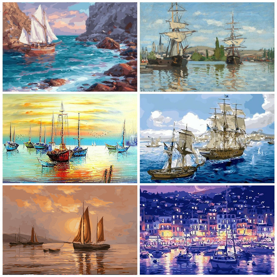 AZQSD Adult Paint By Numbers DIY Scenery Unframe Home Decoration Acrylic Paint Coloring By Numbers Ship Handicraft Kits
