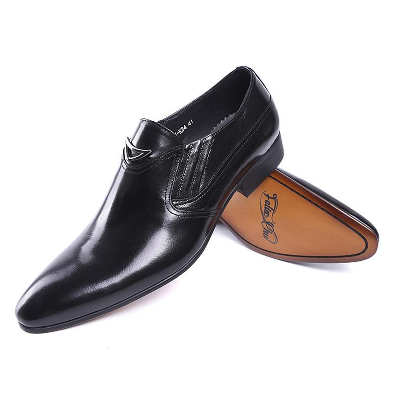 Image 3 - FELIX CHU Italian Style Black Yellow Genuine Leather Men Loafer  Slip On Formal Shoes Wedding Party Pointed Toe Male Dress Shoeslip  onslip on loafersslip on men