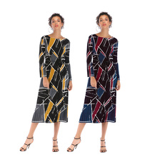 2019 autumn new pleated dress women geometric contrast floral leaves printed chiffon long sash elegant lady sleeve