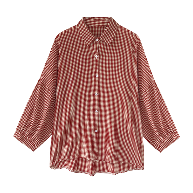 Korean Puff Sleeve Women Tops and Blouse 2021 Spring Plaid Shirt Women Plus Size Office Lady Blouse 4XL Clothes Blusas 8809 50 4