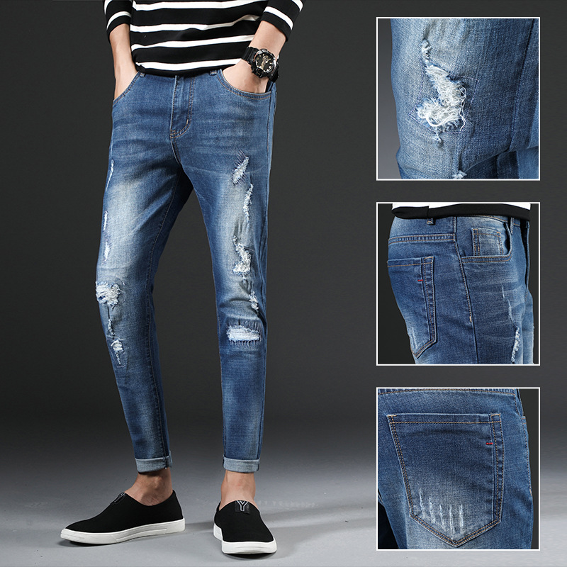 2018 Autumn New Style With Holes Jeans Men's Slim Fit Pants Korean-style Capri Elasticity Light Color Beggar Pants Men