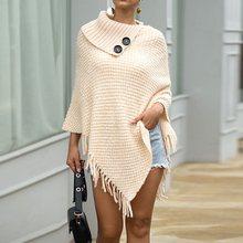 Winter Cape Coat Poncho Women Knitted Tops Casual Capes Beige Elegant Tassel Fashion Black Autumn Vintage Ladies