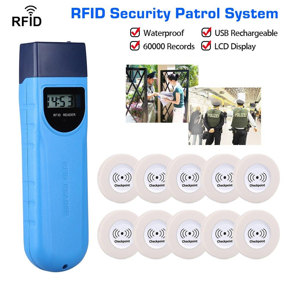 LCD Display Waterproof Anti-broken Guard Patrol Wand RFID Security Patrolling + 10pcs RFID Checkpoint