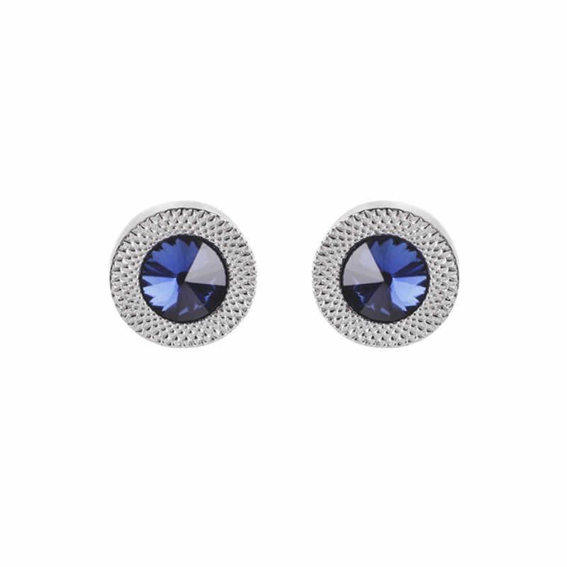 Mavi kristal koni kol düğmeleri erkekler klasik marka mavi prizmatik manşet düğmesi tasarımcı yüksek kaliteli erkek gömleği konik kol düğmeleri