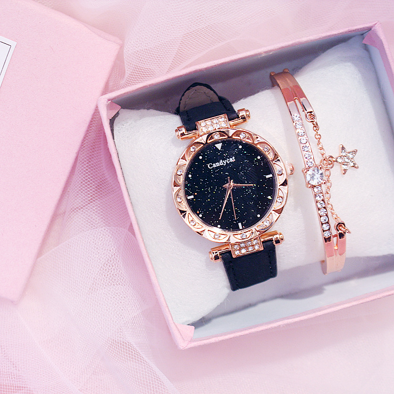 Rose Gold Bracelet Women Watches Starry Sky Bracelet Set Watch Ladies Casual Leather Quartz Wristwatch Clock Relogio Feminino