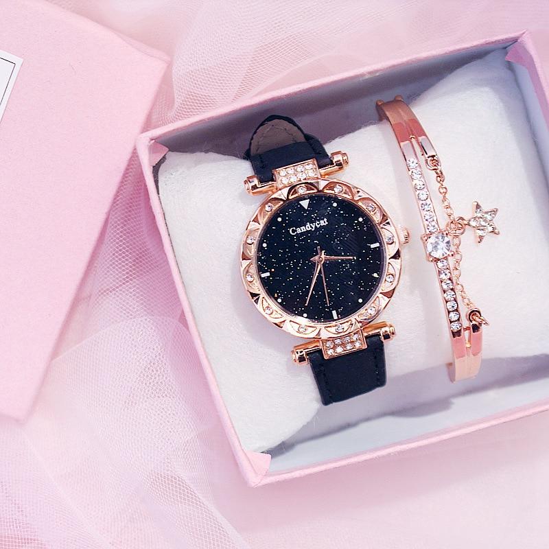 Rose Gold Bracelet Women Watches Starry Sky Bracelet Set Watch Ladies Casual Leather Quartz Wristwatch Clock Relogio Feminino