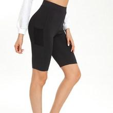 Женские велосипедные шорты до середины бедра, стрейч, спортивная одежда, леггинсы для фитнеса, спортивные штаны с карманом, для танцев, спортзала, байкера, популярные шорты