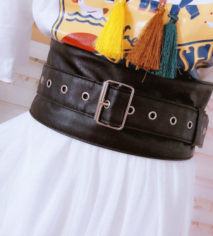 Women's Runway Fashion PU Leather Cummerbunds Female Dress Coat Corsets Waistband Belts Decoration Wide Belt R1744