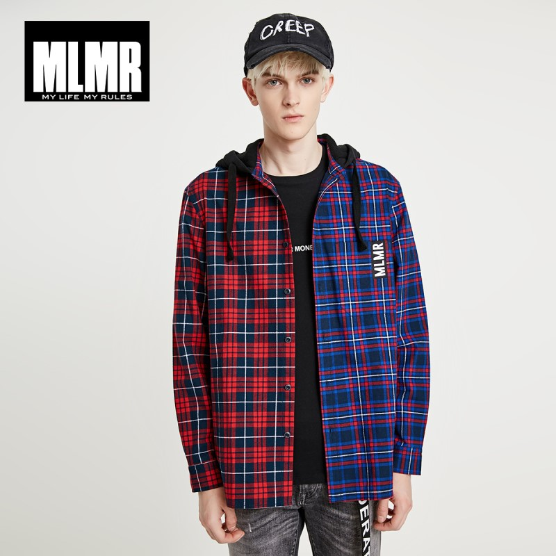 JackJones MLMR Men's 100% Cotton Loose Fit Spliced Hooded Checked Long-sleeved Shirt Streetwear  219105562